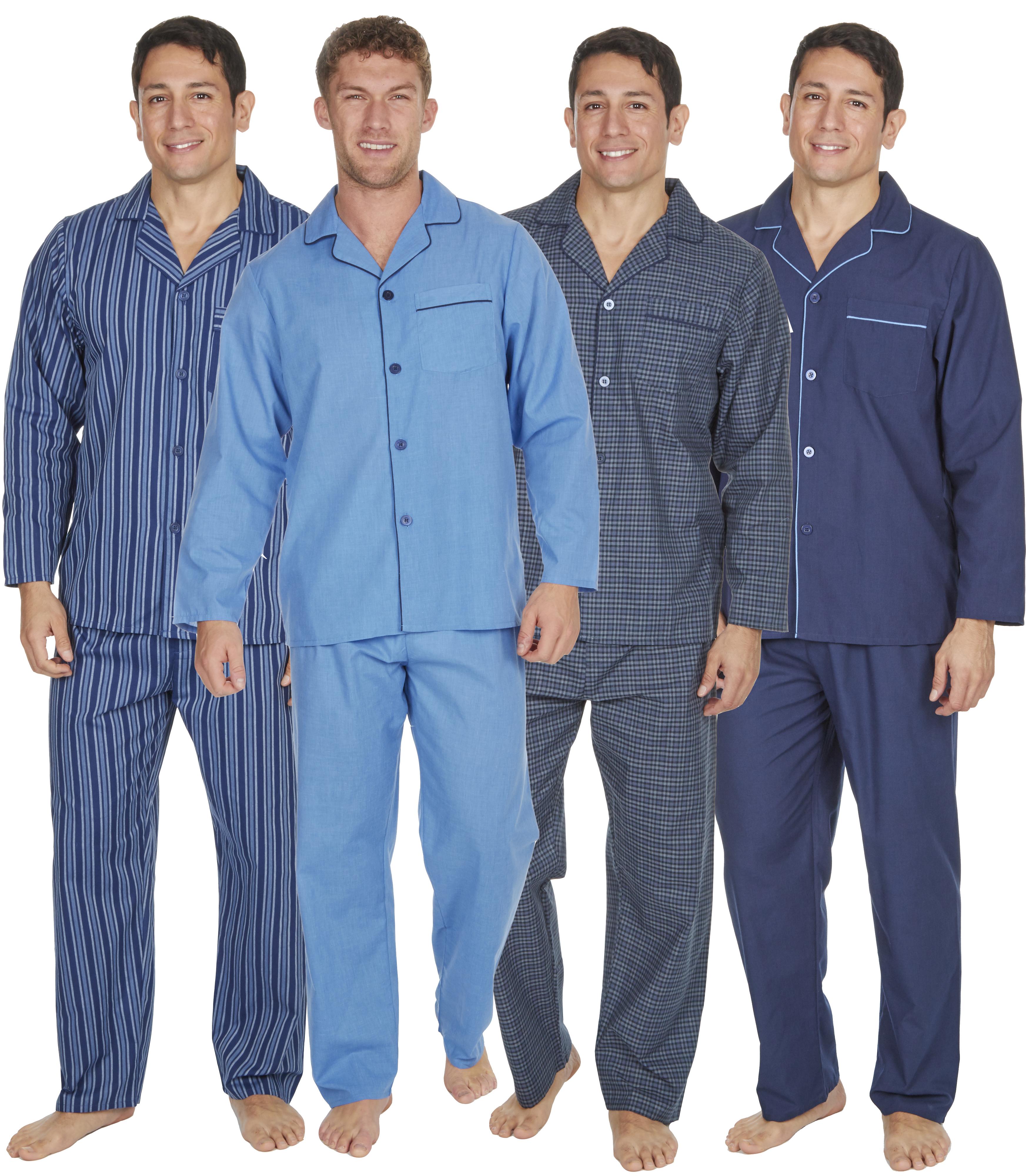 Mens Easy Care Polycotton Classic Long Pyjama Nightwear Pyjama Lounge wear Set